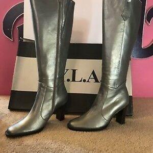 NYLA N.Y.L.A. Pewter Silver Tall Zip Tall Boot NIB